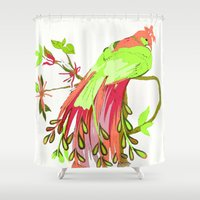 peacock Shower Curtains featuring Peacock  by Saundra Myles