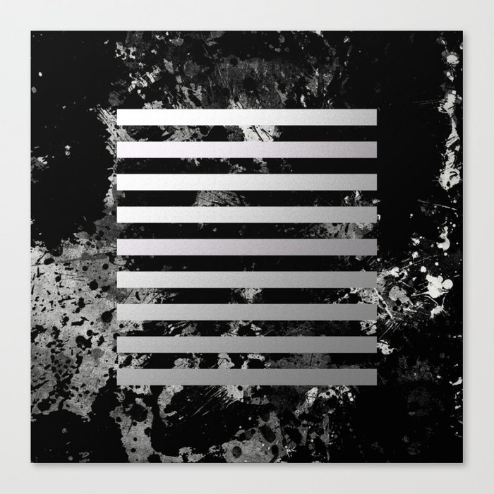 Industrial Action - Metallic, black and white, abstract, geometric, textured painting Canvas Print