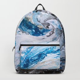 Ocean wave - blue and gold abstract seascape Backpack