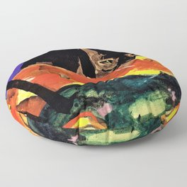 Franz Marc - The Two cats - Digital Remastered Edition Floor Pillow