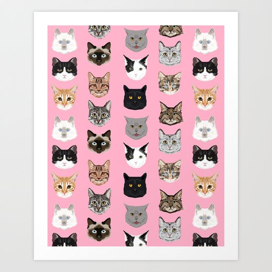 Cute Cat breed faces smiling kitten must have gifts for cat lady cat man cat lover unique pets Art Print