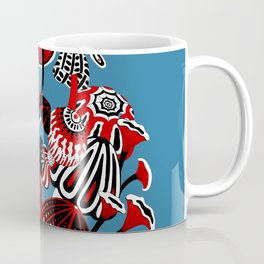 Magic Mushroom Red black blue Coffee Mug