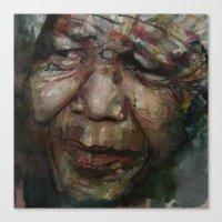 mandela Canvas Prints featuring Mandela by Paul Lovering Watercolors