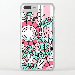 Doodle Art Three Flowers Vines – In the Pink Clear iPhone Case