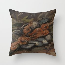 Prawns and Mussels Throw Pillow
