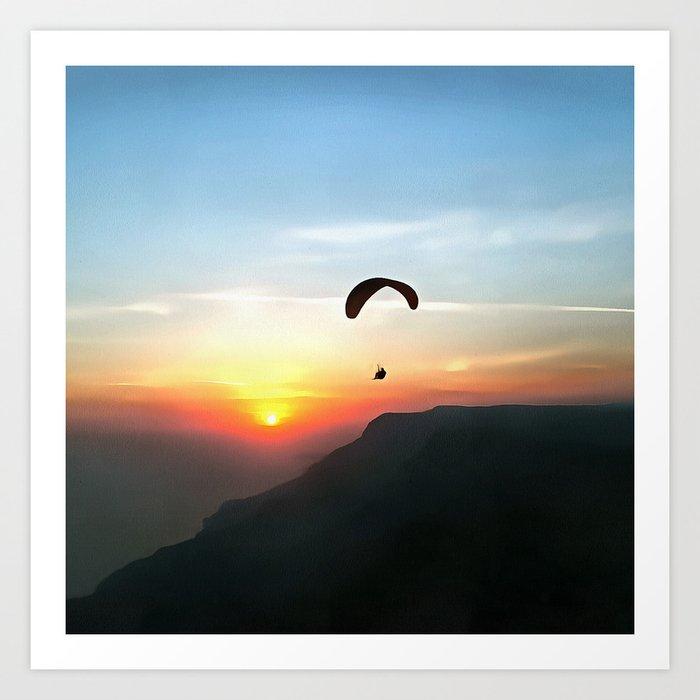 Sunset Paraglide Art Print