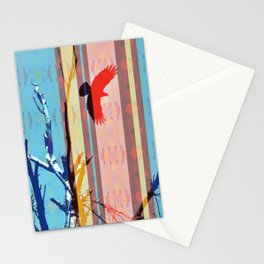 Southwestern Stripe Flying Crow Dead Tree Branches Colorful Stationery Cards