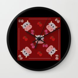 strawberry cow - red Wall Clock