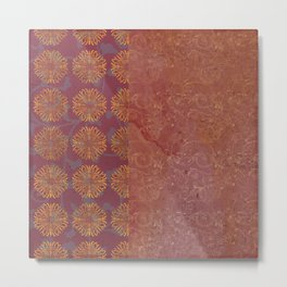 Caravans II:  Asian Print  Plum, gold, pink grey origami textile geometric design Metal Print