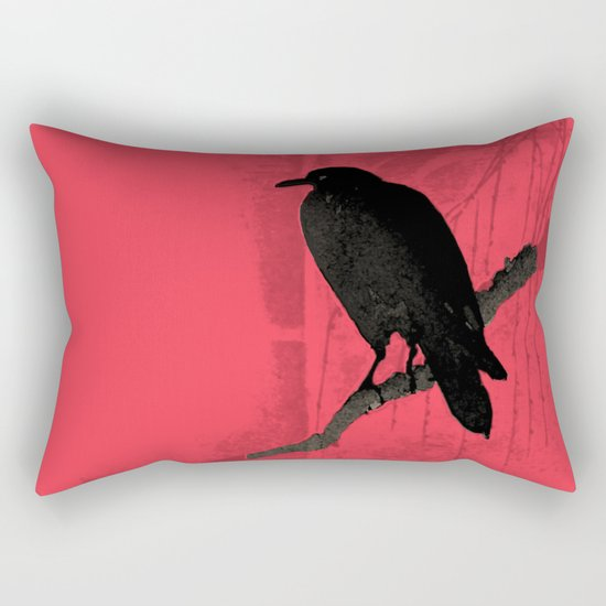 Raven in red Rectangular Pillow