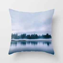Peaceful blue morning in the crystal clear waters of the river Throw Pillow