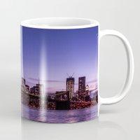 brooklyn bridge Mugs featuring Brooklyn Bridge by hannes cmarits (hannes61)