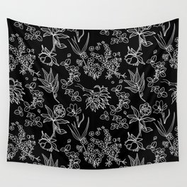 East Coast Forest Vibes Pattern Black Wall Tapestry