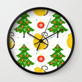 Christmas Trees Pattern With A Little Holiday Surprise Wall Clock