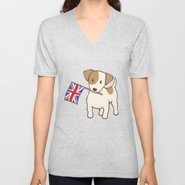 Jack Russell Terrier and Union Jack Illustration Unisex V-Neck