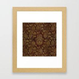 Decorative Hamsa Hand with paisley background Framed Art Print