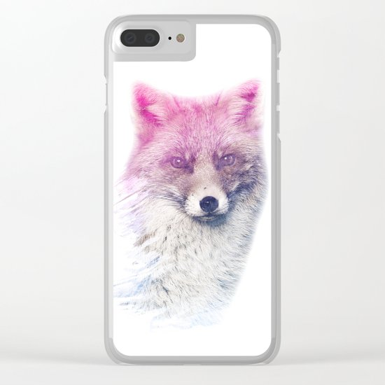 FOX SUPERIMPOSED WATERCOLOR Clear iPhone Case