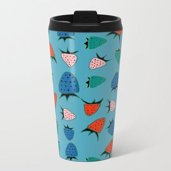 strawberry blue Metal Travel Mug