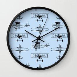 Biplanes // Light Blue Wall Clock