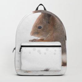 Squirrel And Lunch Pause Winter Scene #decor #society6 #buyart Backpack