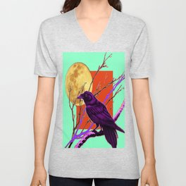 Surreal Purple-green  Mystic Moon Crow/Raven Moon Abstract Unisex V-Neck