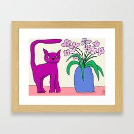 Purple Cat Framed Art Print