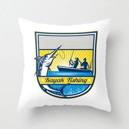 Kayak Fishing Blue Marlin Badge Throw Pillow