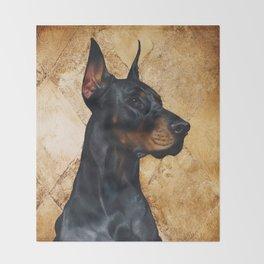 Black and Gold ( Doberman dog ) Throw Blanket