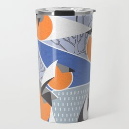 Birds bullfinches in blue, grey and orange colors Travel Mug