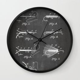 Fly Fishing Patent - Fisherman Art - Black Chalkboard Wall Clock