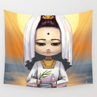 budi satria kwan Wall Tapestries featuring Kwan Yin  by Lurraeh Somohano