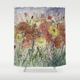 Red and Yellow Poppies by Olena Art Shower Curtain