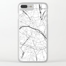 Paris France Minimal Street Map - Gray and White Clear iPhone Case