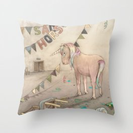 Sad horse (the unicorn) Throw Pillow