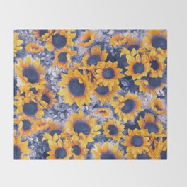 Sunflowers Blue Throw Blanket