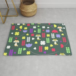 Foxes, flowers and more Rug