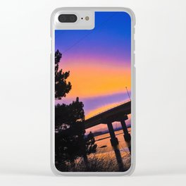 Colorful Sunset to end a Cloudy Day on Casco Bay Clear iPhone Case