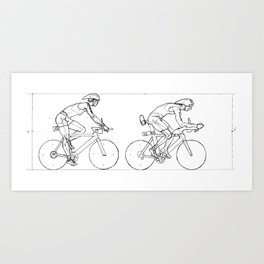 Transitions through Triathlon Cyclists Drawing A Art Print