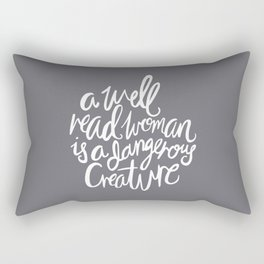 Well Read Woman - Nerd Girl Feminist Quote - White Grey Rectangular Pillow