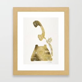 Vintage Rotary Phone – Gold Palette Framed Art Print