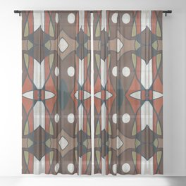 Brown Orange Black White Geometric Abstract Sheer Curtain