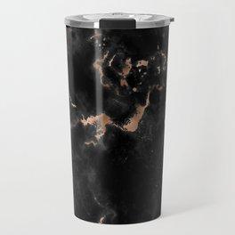 Rose Gold and Black Marble Travel Mug