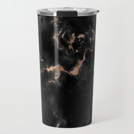 Rose Gold and Black Marble Travel Mug