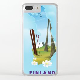 Finland map travel poster. Clear iPhone Case