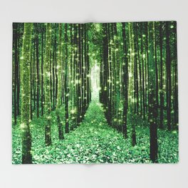 Magical Forest Green Elegance Throw Blanket