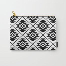 Aztec Symbol Pattern Black on White Carry-All Pouch