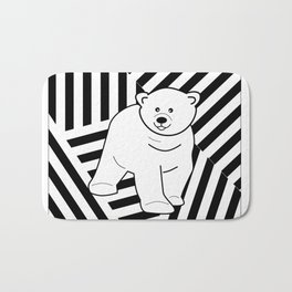 Polar bear on a striped background Bath Mat