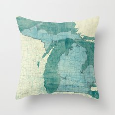 Michigan State Map Blue Vintage Throw Pillow
