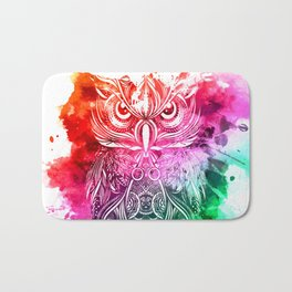 owl watercolor painting Bath Mat