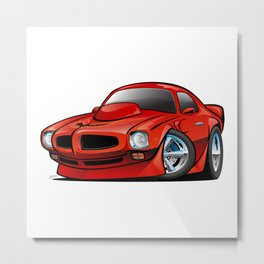Classic Seventies American Muscle Car Cartoon Metal Print